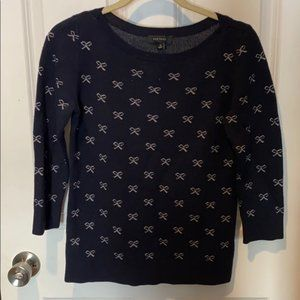 Ann Taylor Navy and Silver Bow Sweater Size L